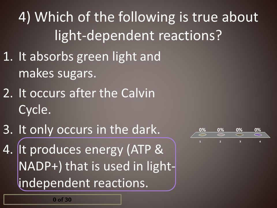 4) Which of the following is true about light-dependent reactions? 1.It absorbs green light and makes sugars. 2.It occurs after the Calvin Cycle. 3.It