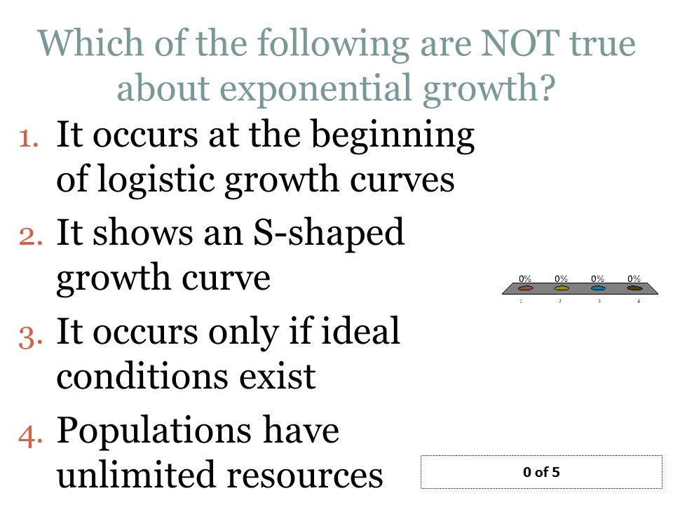 Which of the following are NOT true about exponential growth.