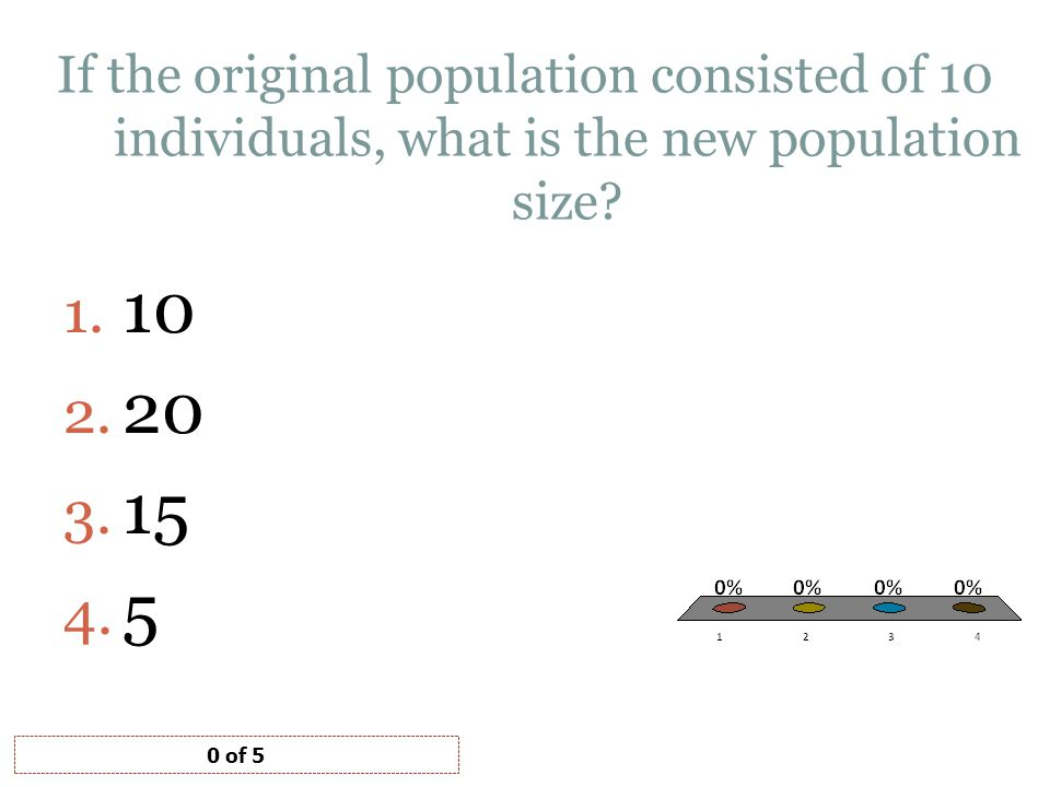 If the original population consisted of 10 individuals, what is the new population size? 1. 10 2. 20 3. 15 4. 5 0 of 5