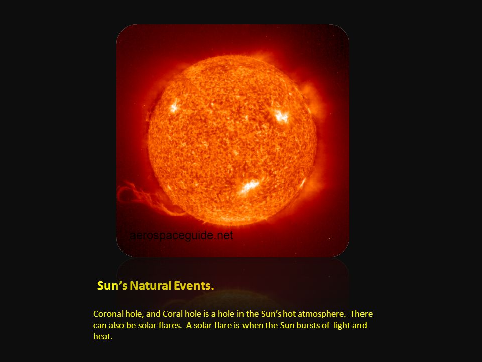 Sun's Natural Events. Coronal hole, and Coral hole is a hole in the Sun's hot atmosphere.