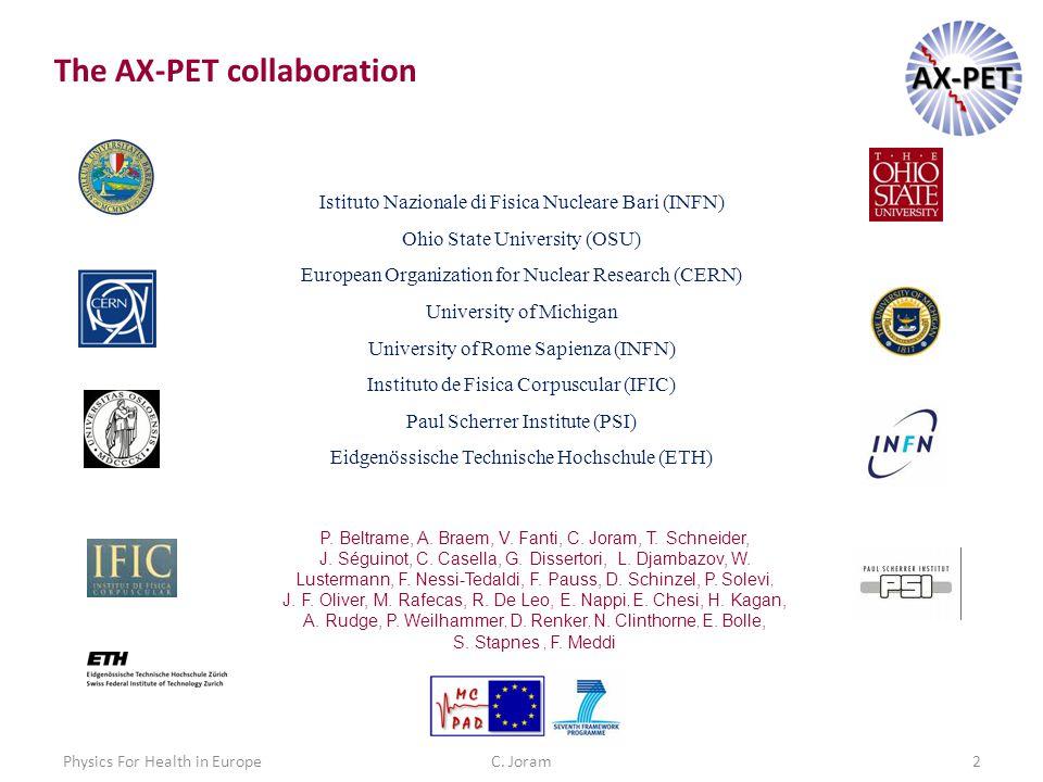 C. Joram2 The AX-PET collaboration Istituto Nazionale di Fisica Nucleare Bari (INFN) Ohio State University (OSU) European Organization for Nuclear Res
