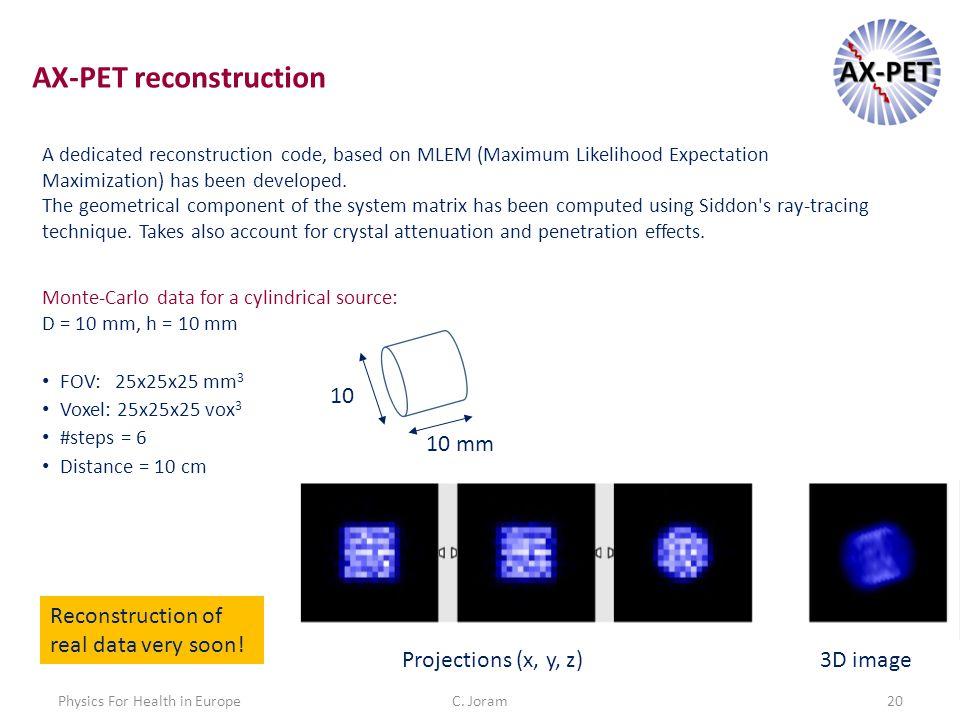 C. Joram20Physics For Health in Europe A dedicated reconstruction code, based on MLEM (Maximum Likelihood Expectation Maximization) has been developed
