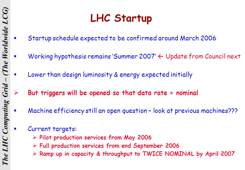 The LHC Computing Grid – (The Worldwide LCG) LHC Startup  Startup schedule expected to be confirmed around March 2006  Working hypothesis remains 'Summer 2007'  Update from Council next  Lower than design luminosity & energy expected initially  But triggers will be opened so that data rate = nominal  Machine efficiency still an open question – look at previous machines??.