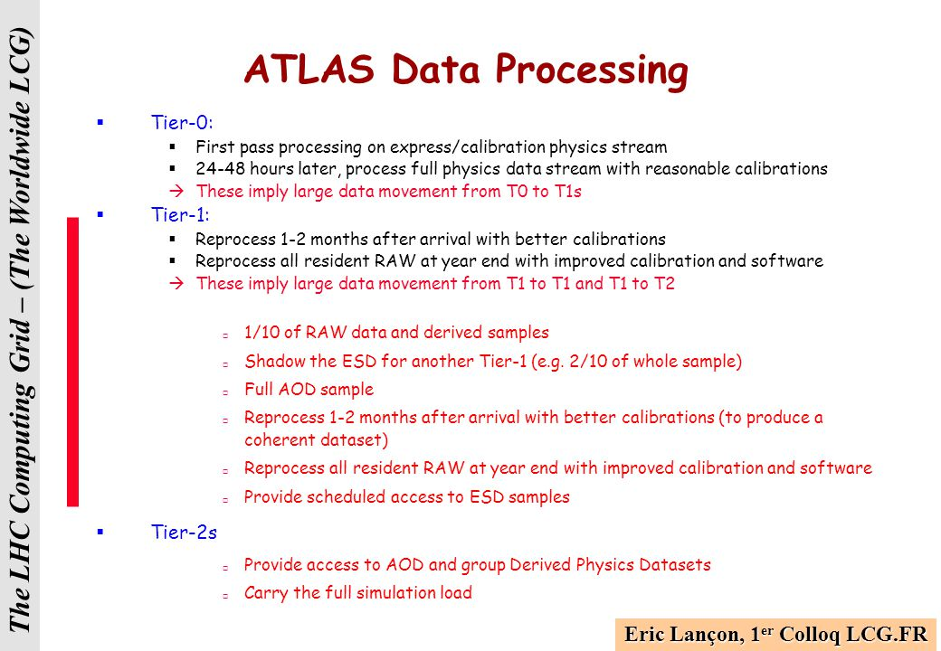 The LHC Computing Grid – (The Worldwide LCG) Additional Use Cases  The focus so far has been very much on first pass processing and associated data distribution  Some discussion on reprocessing has started recently  Goal of Mumbai workshop is to establish these Use Cases as well as the corresponding requirements in terms that are accessible to sites  Will have to define clear milestones and schedule associated with these.
