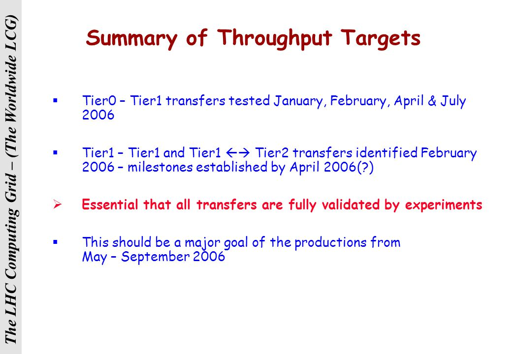 The LHC Computing Grid – (The Worldwide LCG) Summary of Events  February 2006 – pre-CHEP workshop, Mumbai Focus on reprocessing and other Tier1 activities  March 2006 – 'middleware workshops', CERN  June 2006 – 'Tier2 workshop', CERN( ) Focus on Tier2 activities (particularly other than simulation)  Quarterly – WLCG Service Coordination Meetings Monitor the service delivered, plan and coordinate  As required – site visits, regional & topical workshops  WLCG 'conference' sometime 6 – 9 months before CHEP 2007