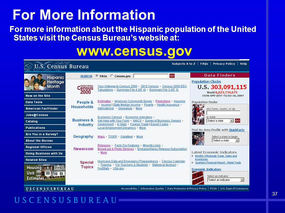 37 For More Information For more information about the Hispanic population of the United States visit the Census Bureau's website at: