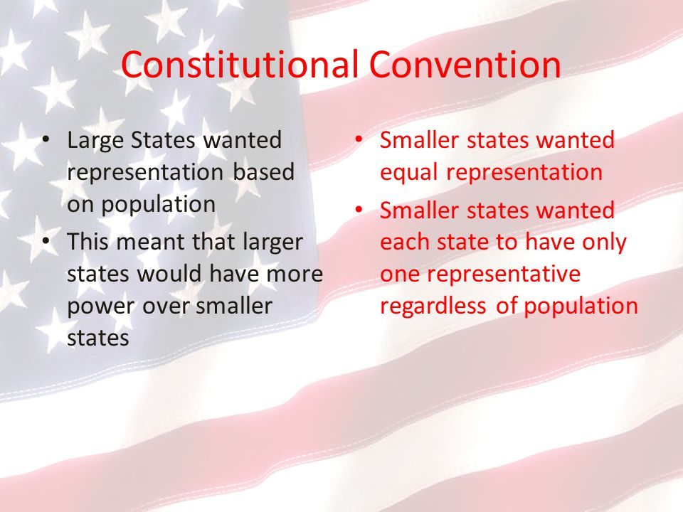 Constitutional Convention Large States wanted representation based on population This meant that larger states would have more power over smaller states Smaller states wanted equal representation Smaller states wanted each state to have only one representative regardless of population