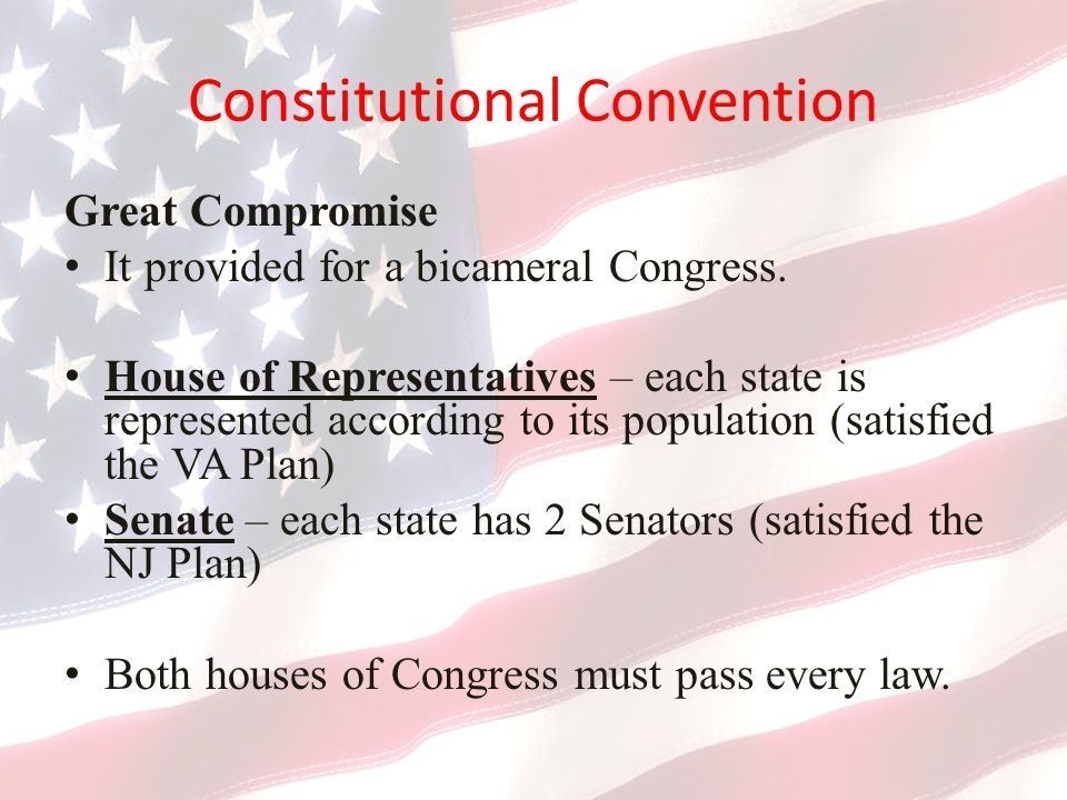 Constitutional Convention Great Compromise It provided for a bicameral Congress.