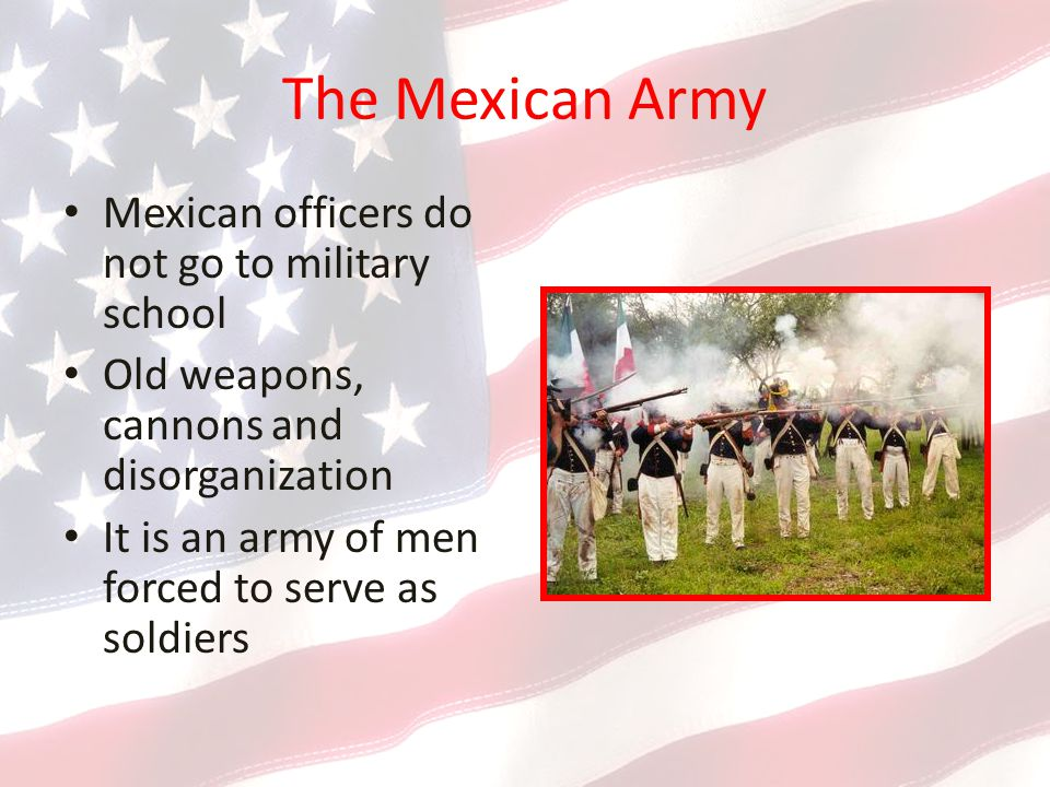 The Mexican Army Mexican officers do not go to military school Old weapons, cannons and disorganization It is an army of men forced to serve as soldiers
