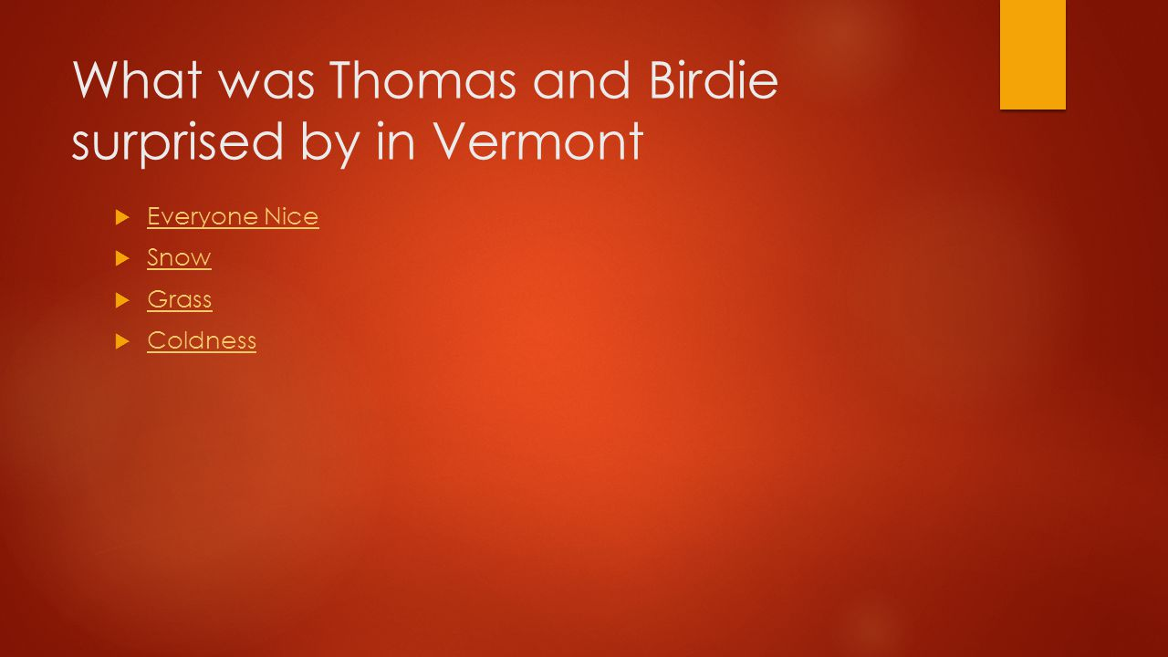 What was Thomas and Birdie surprised by in Vermont  Everyone Nice Everyone Nice  Snow Snow  Grass Grass  Coldness Coldness