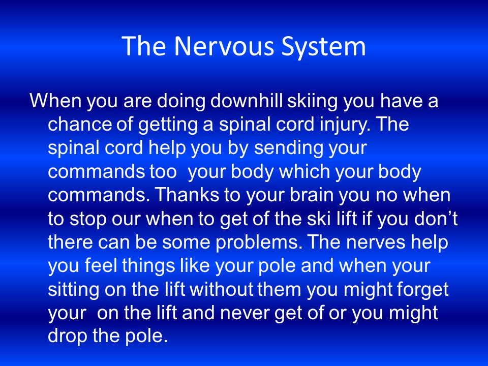 The Nervous System When you are doing downhill skiing you have a chance of getting a spinal cord injury.