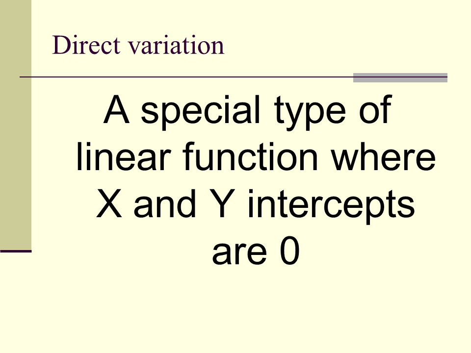 Tests for Direct Variation As a table: the ratio of range over domain remains constant As a graph: line goes through (0,0) As an equation: all constant terms can be eliminated