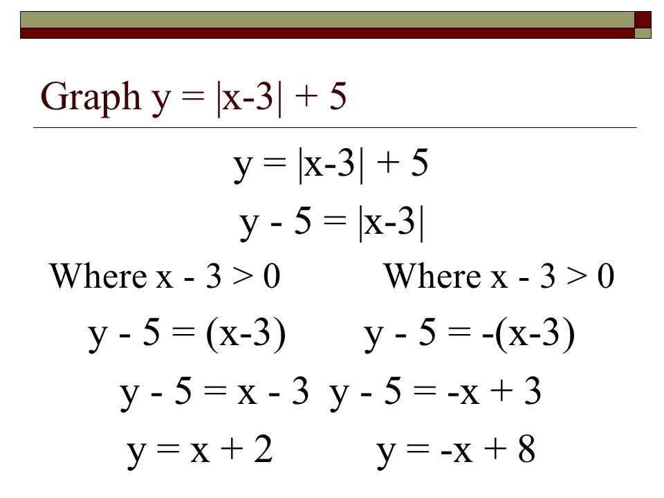 Graph y = |x-3| + 5 y = |x-3| + 5 y - 5 = |x-3| Where x - 3 > 0 y - 5 = (x-3) y - 5 = -(x-3) y - 5 = x - 3 y - 5 = -x + 3 y = x + 2 y = -x + 8