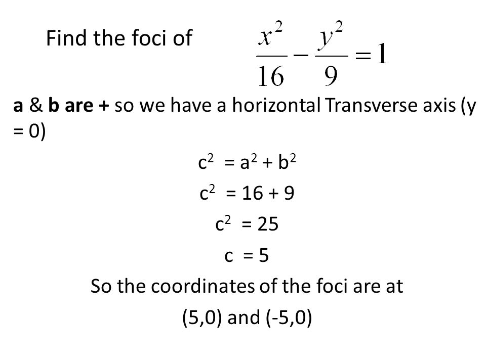 a & b are + so we have a horizontal Transverse axis (y = 0) c 2 = a 2 + b 2 c 2 = 16 + 9 c 2 = 25 c = 5 So the coordinates of the foci are at (5,0) an