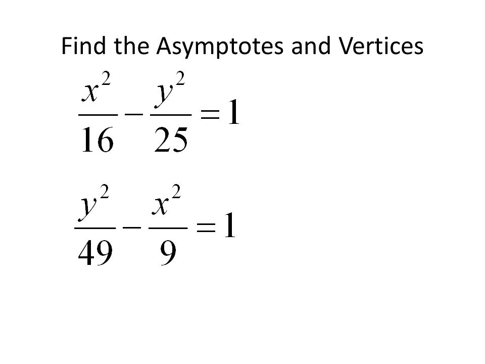 Horizontal Transverse Axis So Vertices are at +- (a,0) a = 4 b = 5 (4,0) and (-4,0) Asymptotes are at