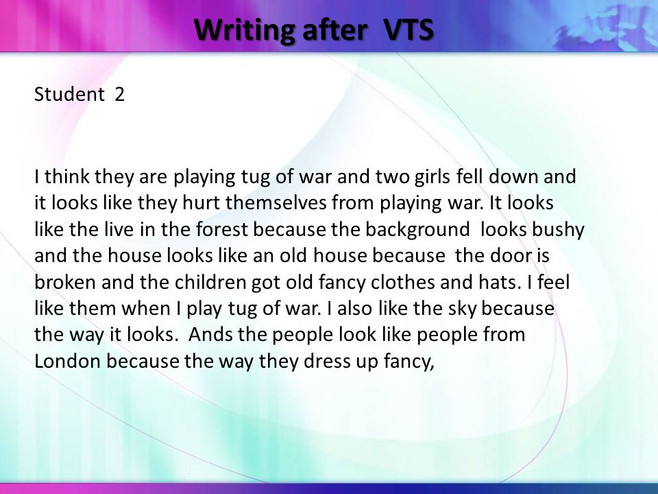 Writing after VTS Student 2 I think they are playing tug of war and two girls fell down and it looks like they hurt themselves from playing war. It lo