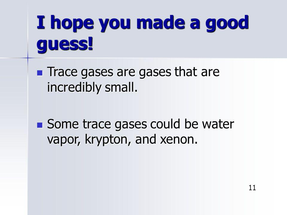 I hope you made a good guess! Trace gases are gases that are incredibly small. Trace gases are gases that are incredibly small. Some trace gases could
