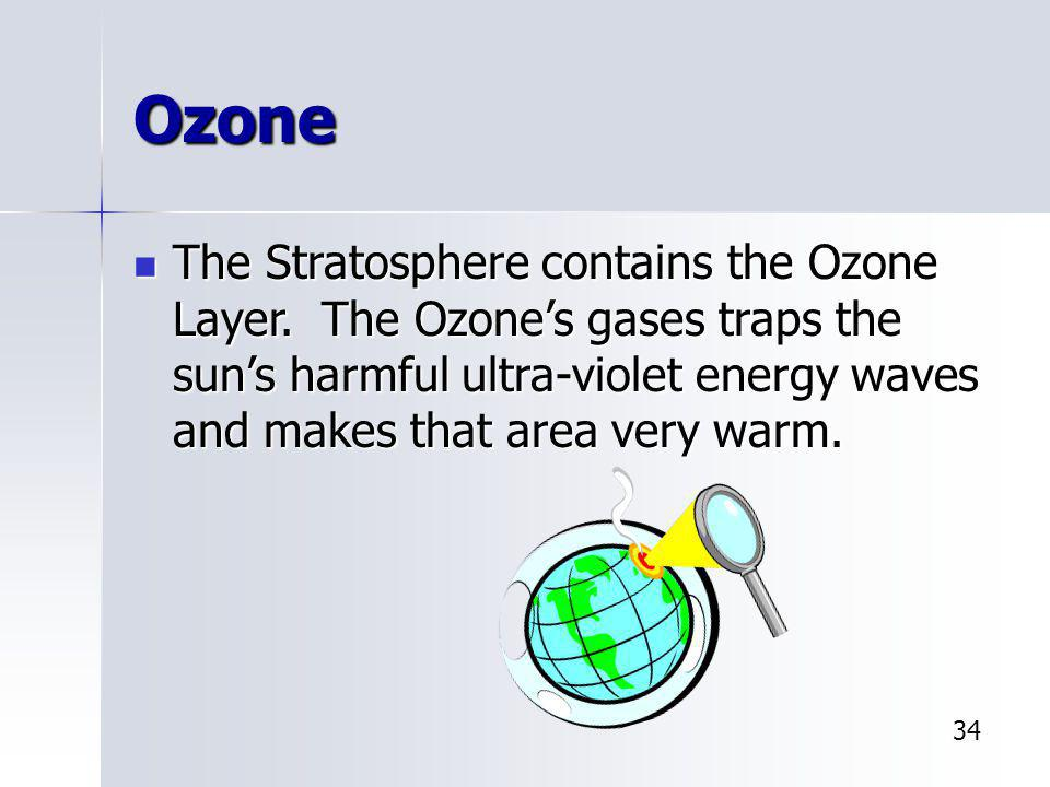 Ozone The Stratosphere contains the Ozone Layer. The Ozone's gases traps the sun's harmful ultra-violet energy waves and makes that area very warm. Th