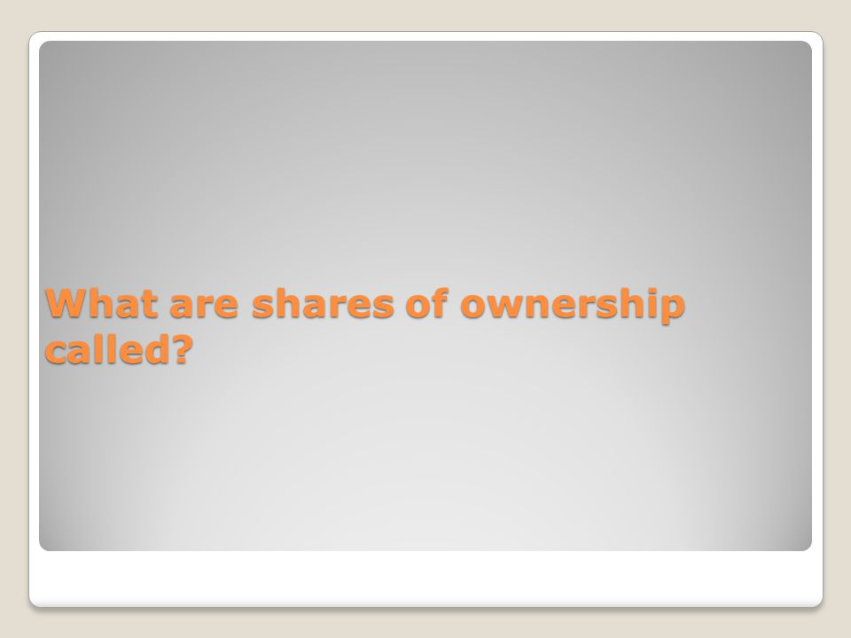 What are shares of ownership called?