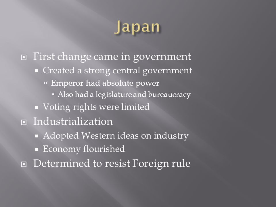  As economy grew, need for Imperialism grew as well  Japan lacked many resources need for industrialization  Focus turned to Korea  Was also isolated from all other countries  Forced them to open trading ports to Japan only  Conflict with China  Led to Sino-Japanese War  Japan won easily