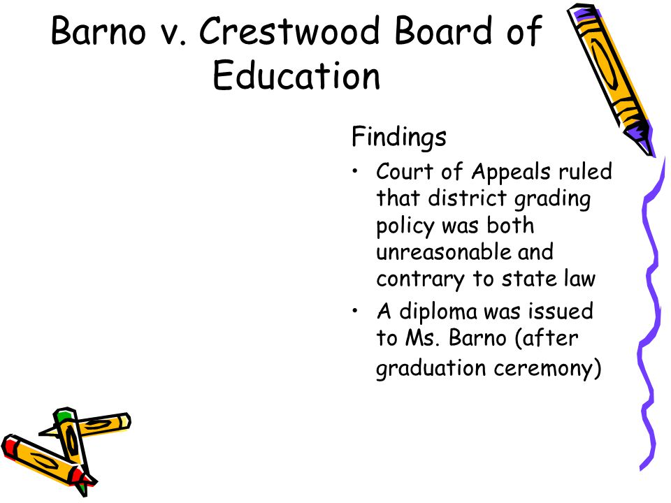 Barno v. Crestwood Board of Education Findings Court of Appeals ruled that district grading policy was both unreasonable and contrary to state law A d