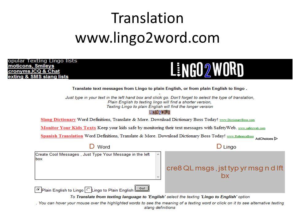 Translation www.lingo2word.com Lingo Translator