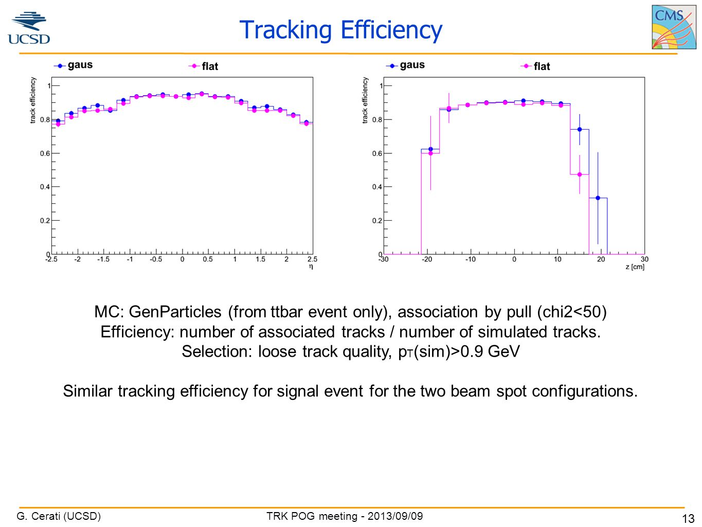 G. Cerati (UCSD) TRK POG meeting - 2013/09/09 13 Tracking Efficiency MC: GenParticles (from ttbar event only), association by pull (chi2<50) Efficienc