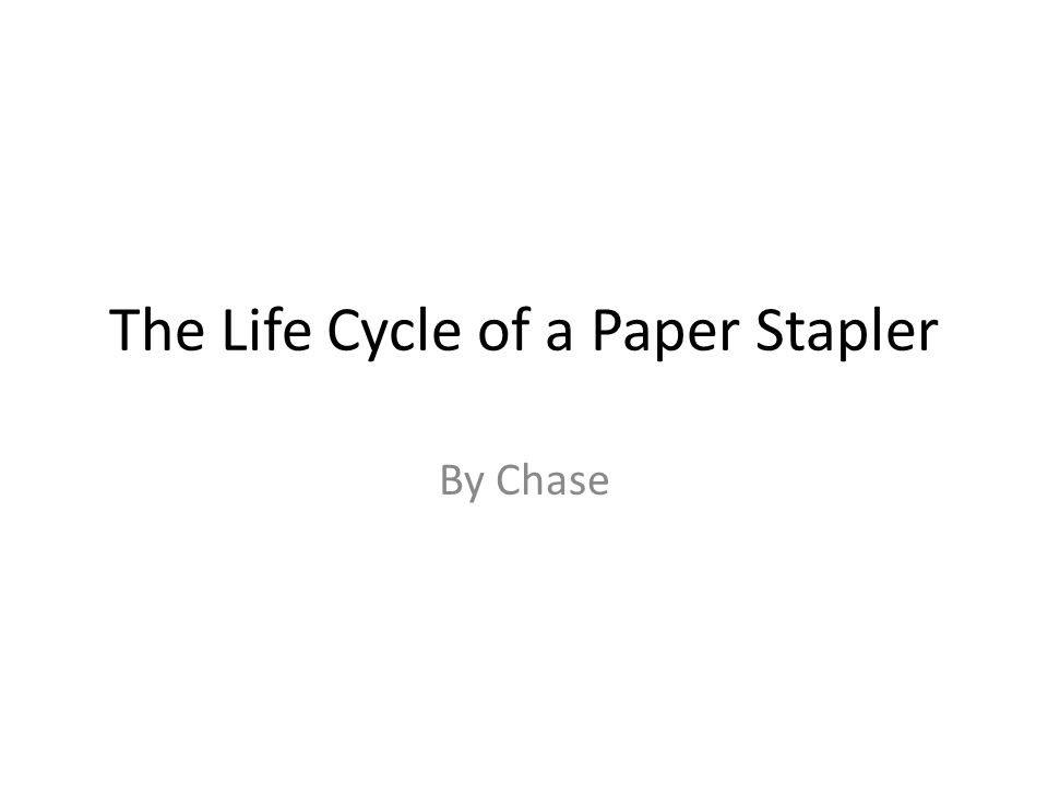 The Life Cycle of a Paper Stapler By Chase