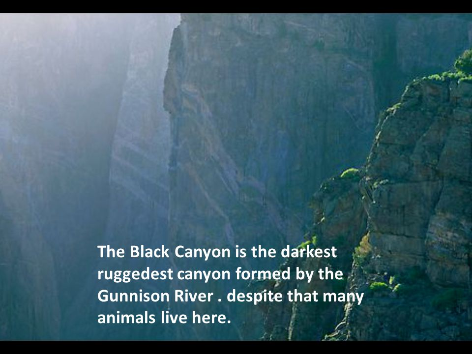 The Black Canyon is the darkest ruggedest canyon formed by the Gunnison River.