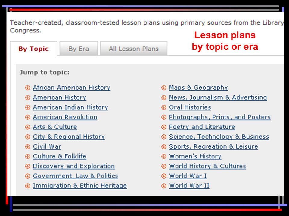 Lesson plans by topic or era