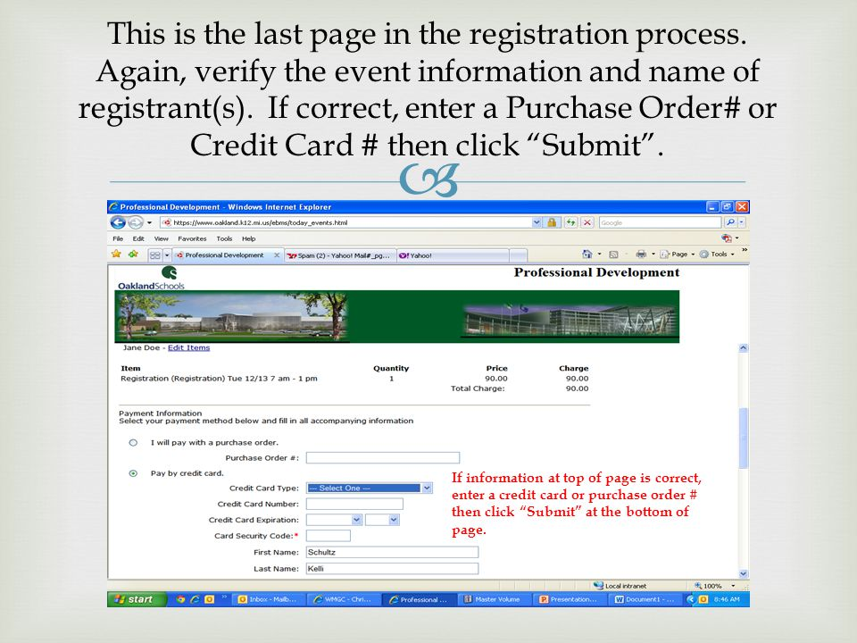  This is the last page in the registration process.