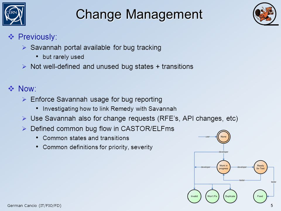 German Cancio (IT/FIO/FD) 5 Change Management  Previously:  Savannah portal available for bug tracking but rarely used  Not well-defined and unused bug states + transitions  Now:  Enforce Savannah usage for bug reporting Investigating how to link Remedy with Savannah  Use Savannah also for change requests (RFE's, API changes, etc)  Defined common bug flow in CASTOR/ELFms Common states and transitions Common definitions for priority, severity