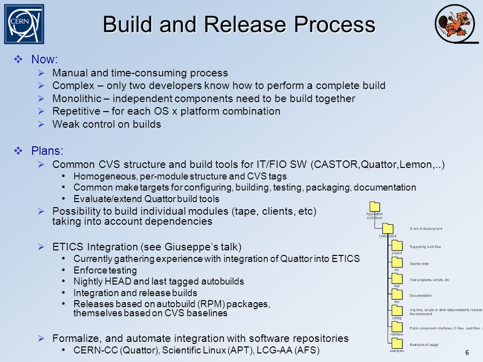 German Cancio (IT/FIO/FD) 6 Build and Release Process  Now:  Manual and time-consuming process  Complex – only two developers know how to perform a complete build  Monolithic – independent components need to be build together  Repetitive – for each OS x platform combination  Weak control on builds  Plans:  Common CVS structure and build tools for IT/FIO SW (CASTOR,Quattor,Lemon,..) Homogeneous, per-module structure and CVS tags Common make targets for configuring, building, testing, packaging, documentation Evaluate/extend Quattor build tools  Possibility to build individual modules (tape, clients, etc) taking into account dependencies  ETICS Integration (see Giuseppe's talk) Currently gathering experience with integration of Quattor into ETICS Enforce testing Nightly HEAD and last tagged autobuilds Integration and release builds Releases based on autobuild (RPM) packages, themselves based on CVS baselines  Formalize, and automate integration with software repositories CERN-CC (Quattor), Scientific Linux (APT), LCG-AA (AFS)