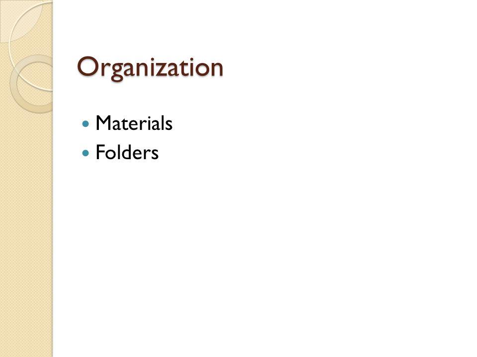Organization Materials Folders
