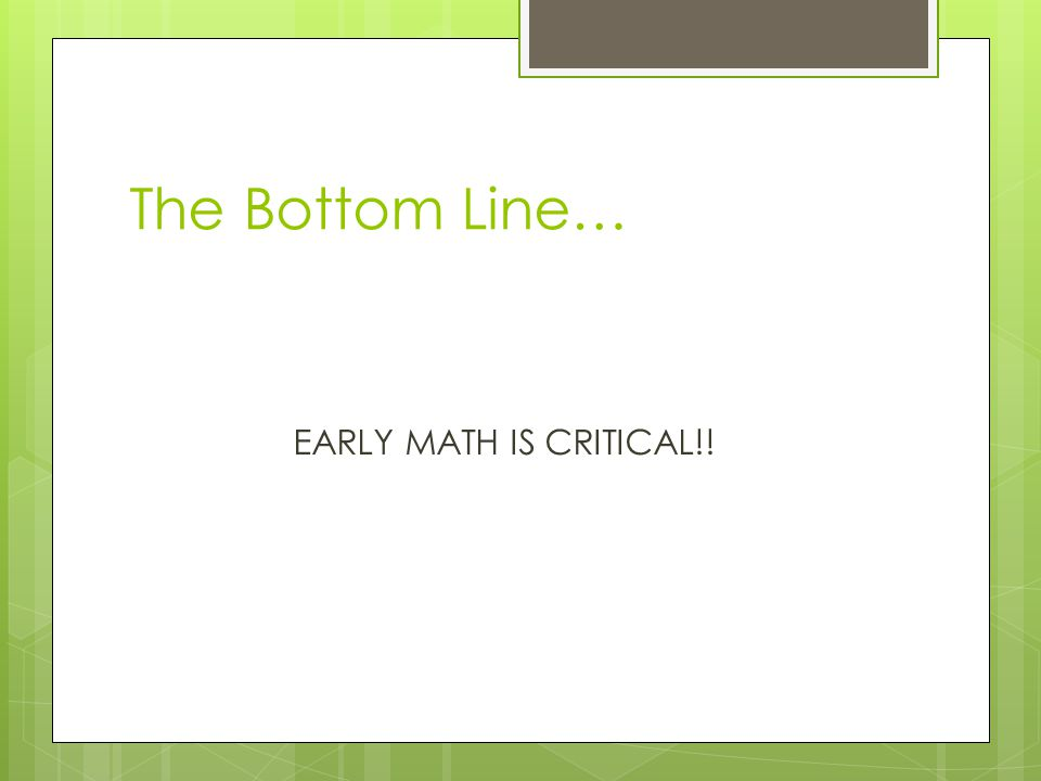 You Try Activity  You have one area placed in front of you with each of the math components listed.