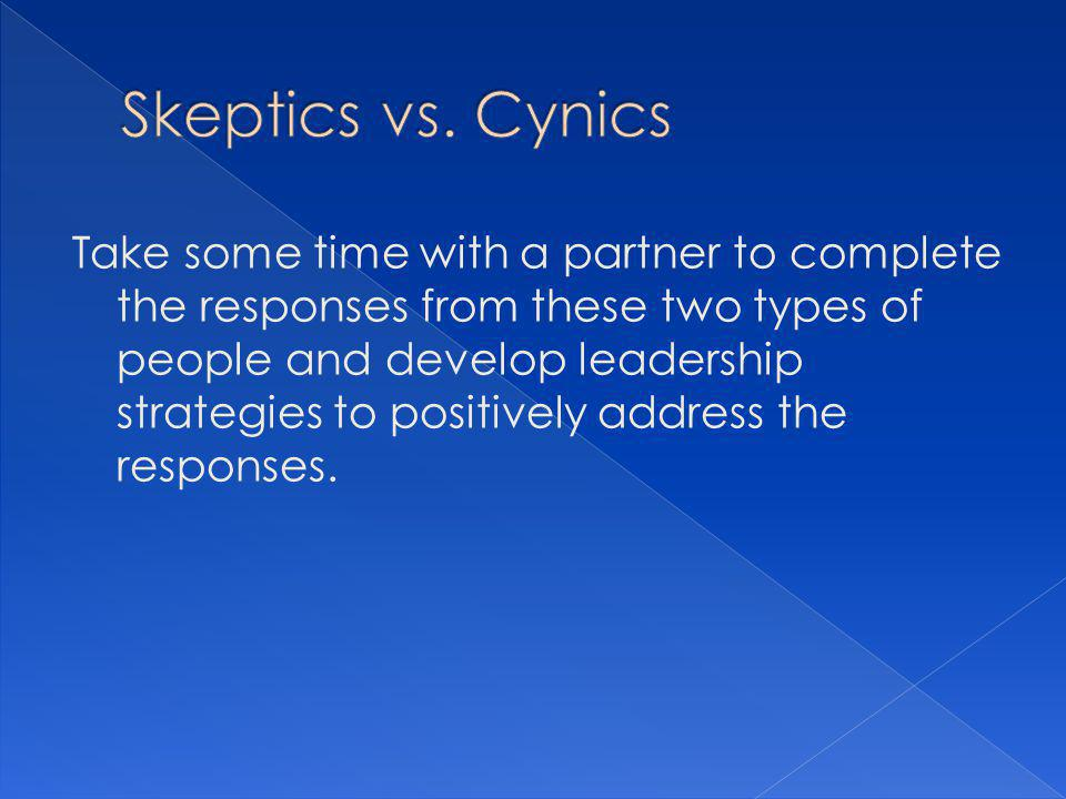 Take some time with a partner to complete the responses from these two types of people and develop leadership strategies to positively address the responses.