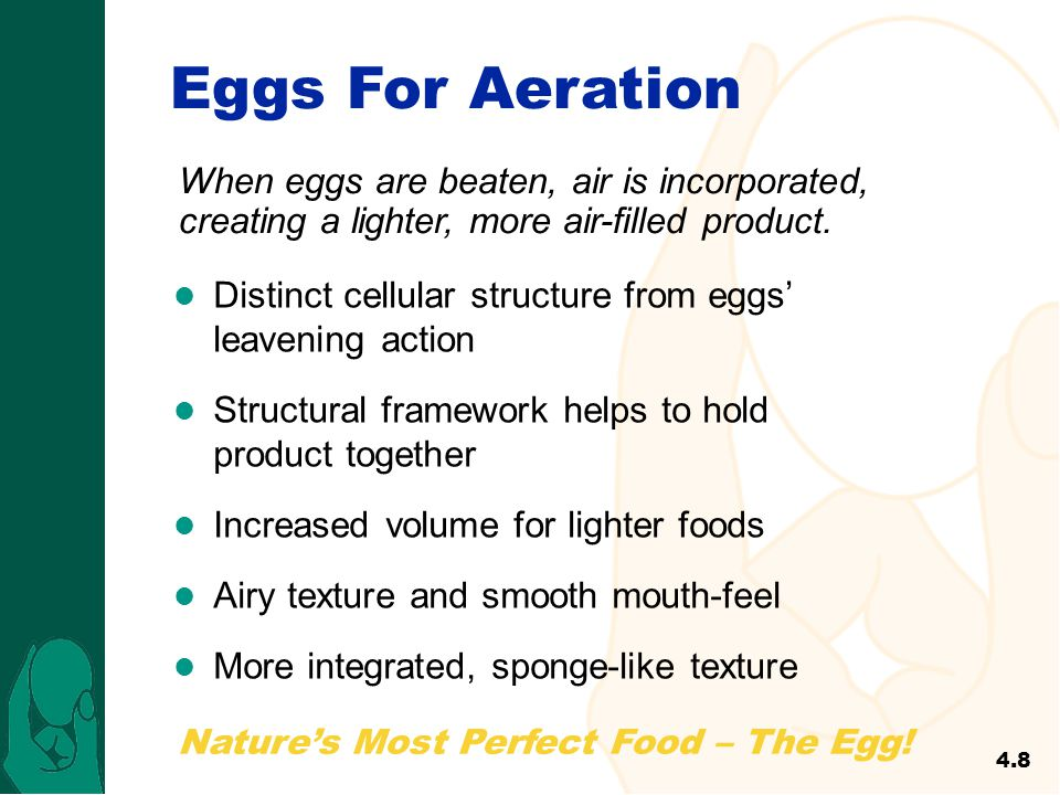 Nature's Most Perfect Food – The Egg! Eggs For Aeration Distinct cellular structure from eggs' leavening action Structural framework helps to hold pro
