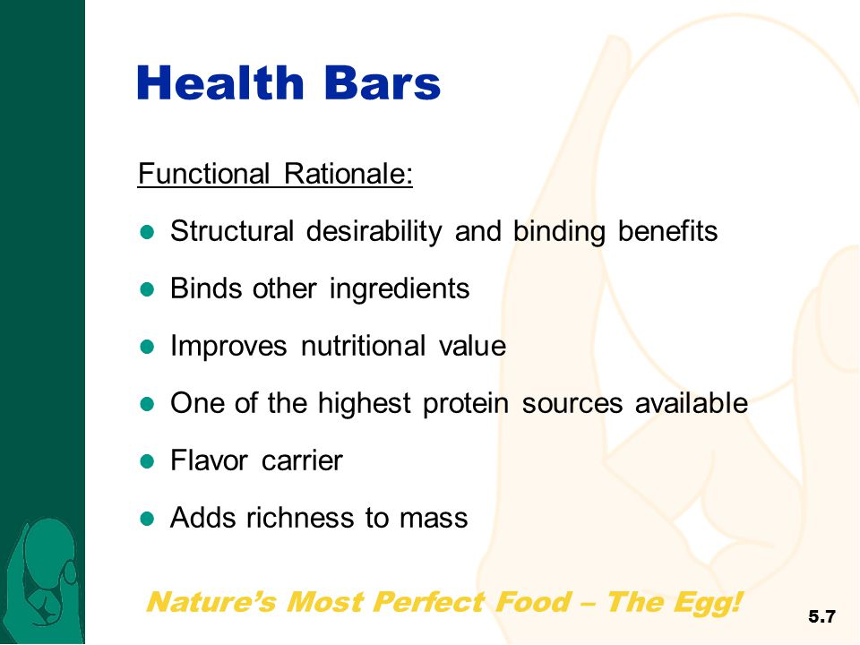 Nature's Most Perfect Food – The Egg! Health Bars Functional Rationale: Structural desirability and binding benefits Binds other ingredients Improves