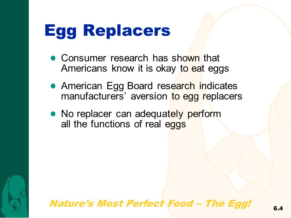 Nature's Most Perfect Food – The Egg! Egg Replacers Consumer research has shown that Americans know it is okay to eat eggs American Egg Board research