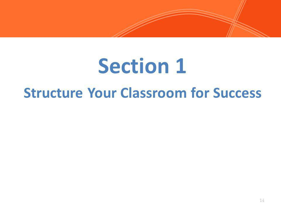 Section 1 Structure Your Classroom for Success 14