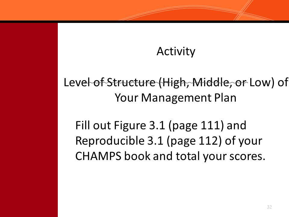Activity Level of Structure (High, Middle, or Low) of Your Management Plan Fill out Figure 3.1 (page 111) and Reproducible 3.1 (page 112) of your CHAM