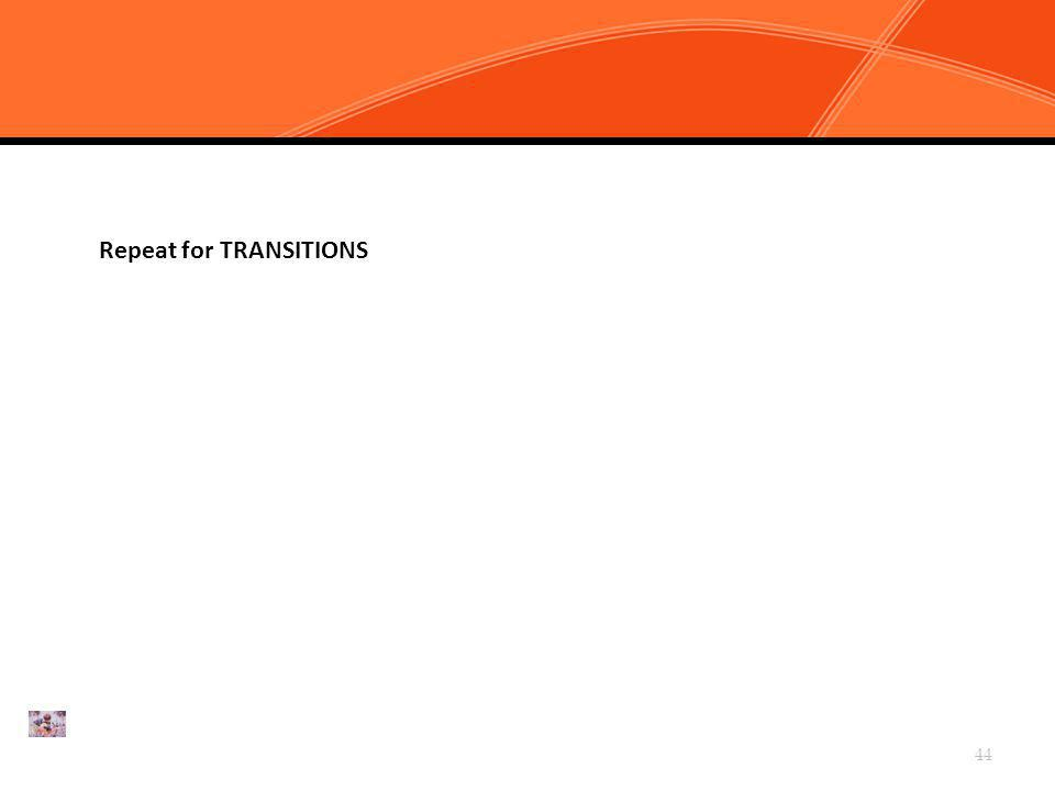 Chapter 4, Task 2: Clarify CHAMPS Expectations for Transitions Repeat for TRANSITIONS 44