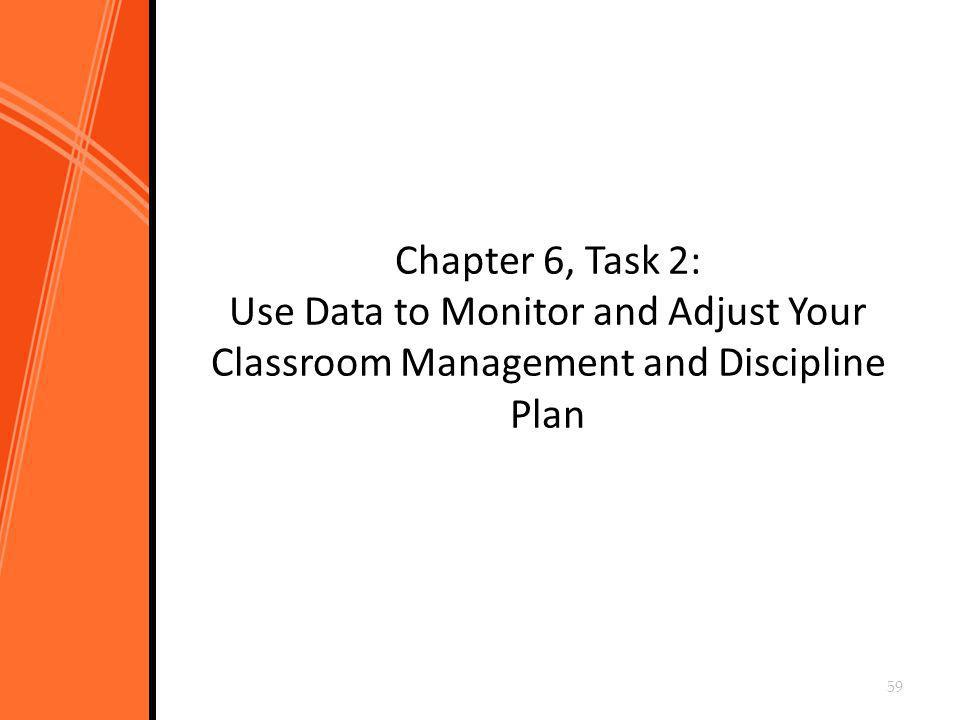Chapter 6, Task 2: Use Data to Monitor and Adjust Your Classroom Management and Discipline Plan 59