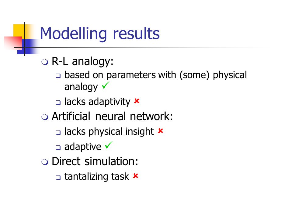 Modelling results  R-L analogy:  based on parameters with (some) physical analogy  lacks adaptivity   Artificial neural network:  lacks physical insight   adaptive  Direct simulation:  tantalizing task 