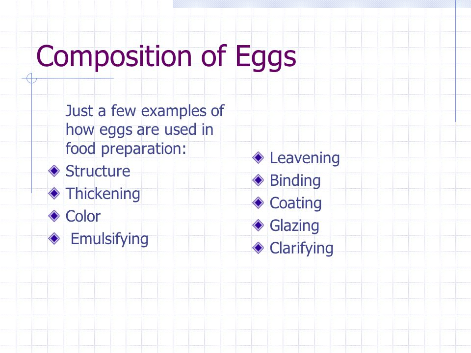 Composition of Eggs Just a few examples of how eggs are used in food preparation: Structure Thickening Color Emulsifying Leavening Binding Coating Gla