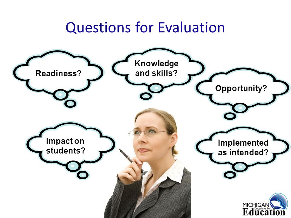 Questions for Evaluation Impact on students. Knowledge and skills.