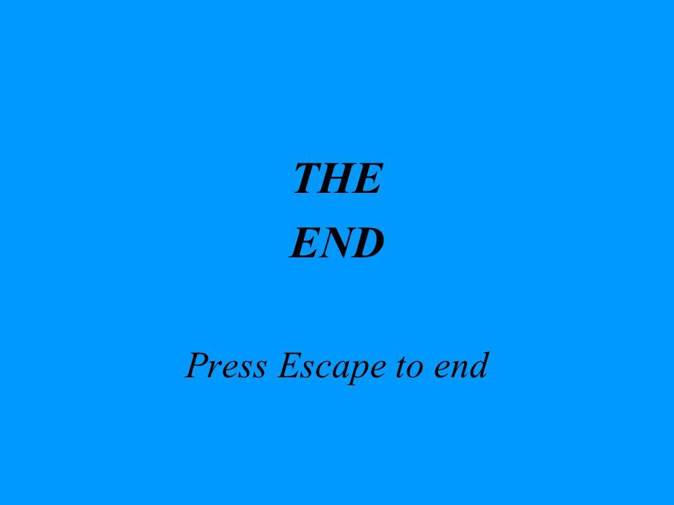 THE END Press Escape to end