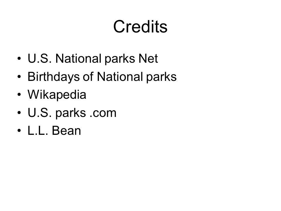 Credits U.S. National parks Net Birthdays of National parks Wikapedia U.S. parks.com L.L. Bean