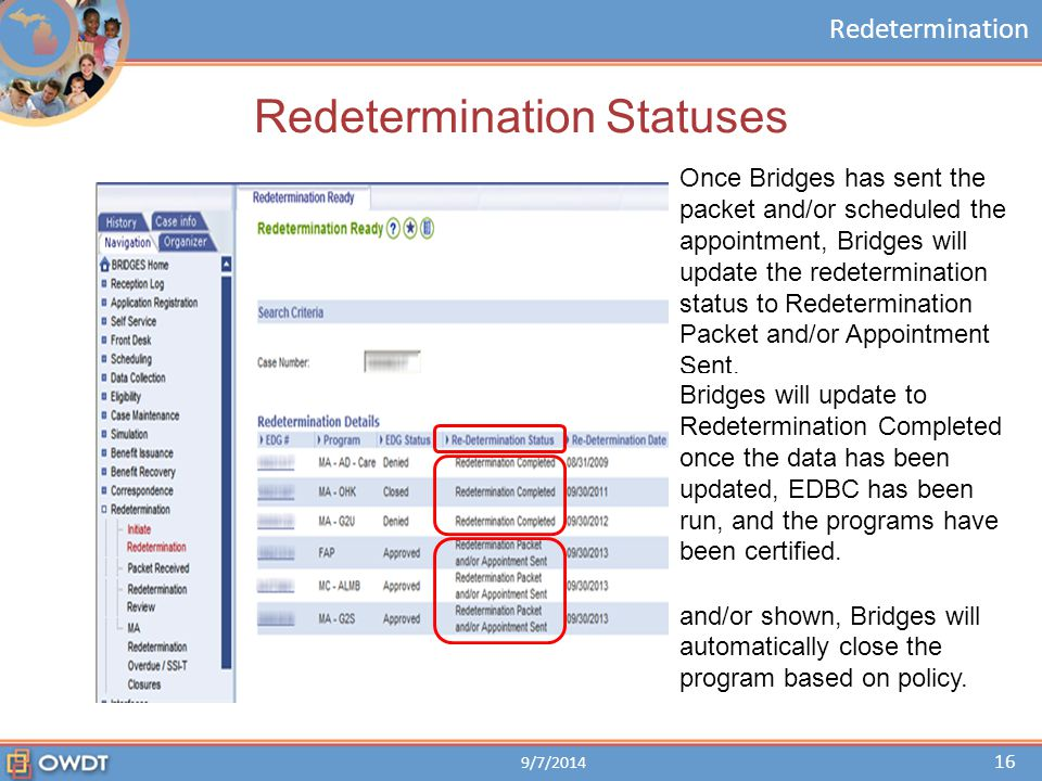 Redetermination Redetermination Statuses 9/7/2014 16 Once Bridges has sent the packet and/or scheduled the appointment, Bridges will update the redete