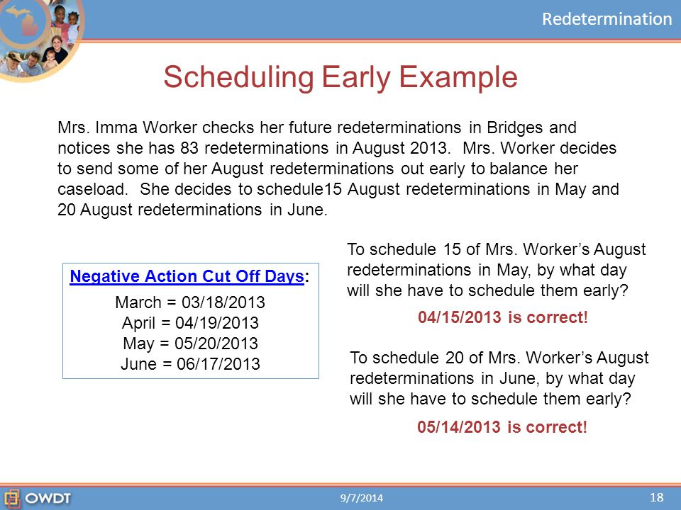 Redetermination Scheduling Early Example Mrs. Imma Worker checks her future redeterminations in Bridges and notices she has 83 redeterminations in Aug